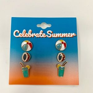 3 Pair of Summer Fun earrings coconut cocktail New